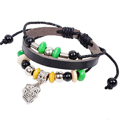 Gladiator Costume Diy (Gladiator Shield Leather Bracelet Personality Beaded Woven Bracelet Adjustable Cuff Charm Bangle)