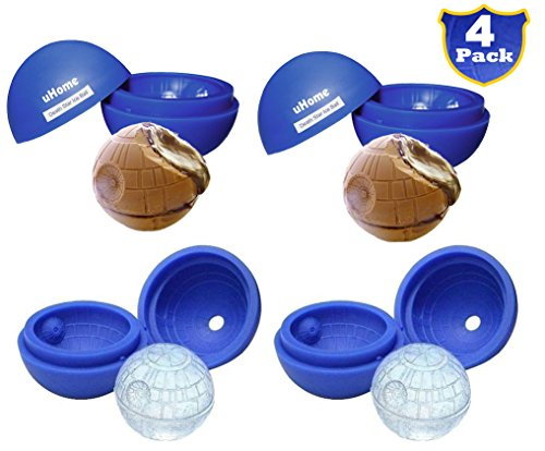 Ice Ball Maker Mold - Blue Silicone Ice Cube Tray for Star Wars Lovers - 5.5X 5.8cm Round Ice Ball Spheres for Baking and Cool Drinks_4 Pack
