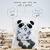 Baby Teething Mitten + Teething Necklace - Best for 3-12 Month Infants, Top New Mom Baby Shower Gift Set | Self Soothing Silicone Toy for Pain Relief, Necklace for Mom to Wear, 100% BPA Free