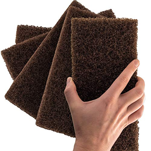 Heavy Duty XL Brown Scouring Pad 5 Pack. 10 x 4.5in Large Multipurpose Nylon Scrubbing Sponges. Clean Bathrooms, Kitchens, Counters and Floors to Erase Grime and Make Surfaces Sparkle