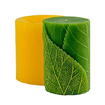 Cilindro con hojas 3d molde jabón molde de silicona moldes molde para jabón molde Vela molde molde de silicona flor Molde: Amazon.es: Hogar