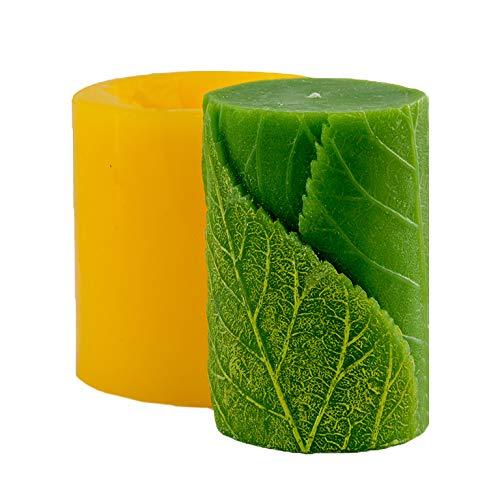 (Cylinder with leaves 3D mold soap mold silicone molds mold for soap mold candle mold silicone mold Flower mold)