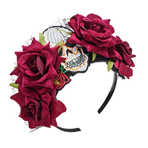 Merroyal Red Flower Crown Halloween Crown Red Hair Accessory (Red)