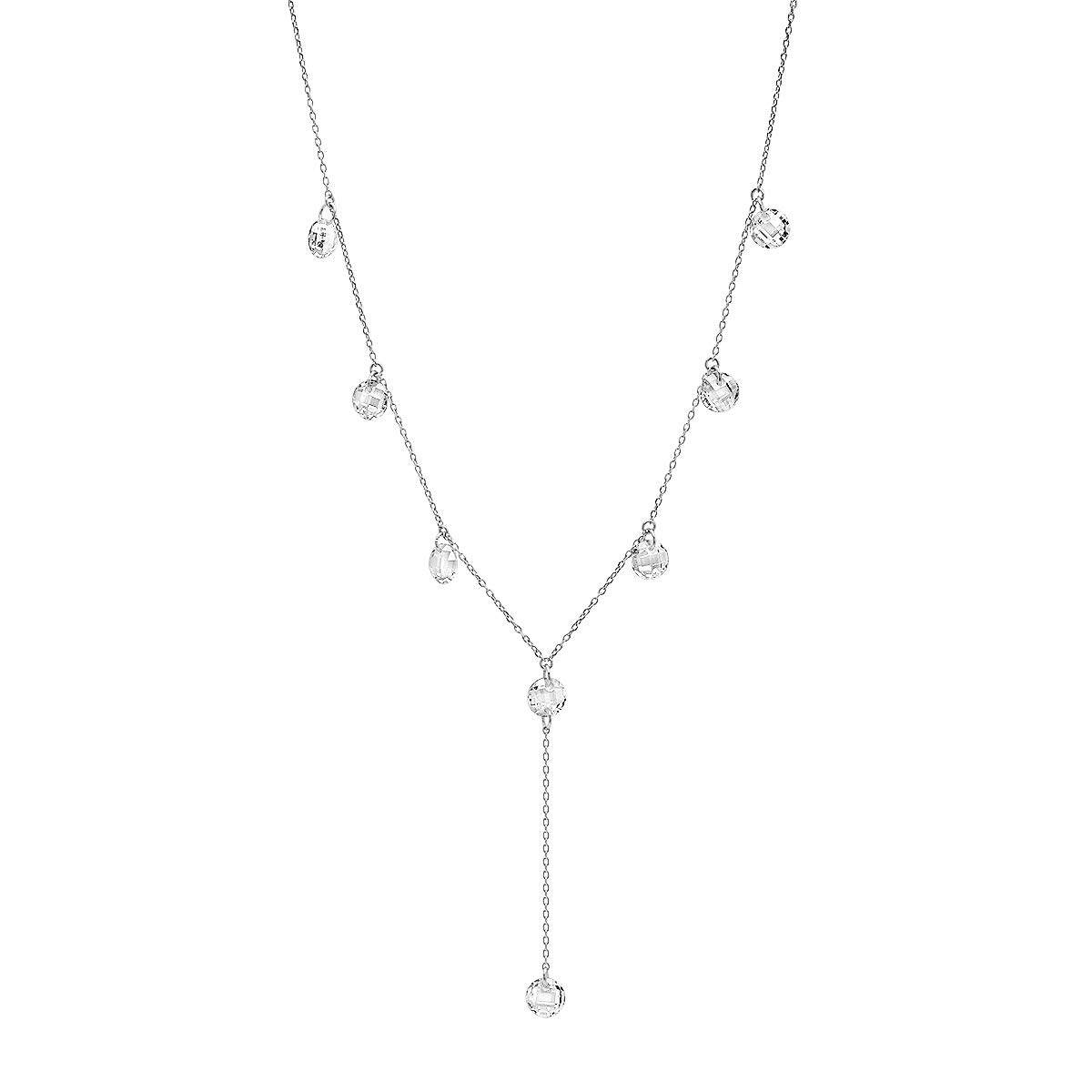Sterling Silver Cubic Zirconia Station 'Y' Necklace, 18''