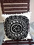 Suzani Cushion Cover 24x24, Black and White Euro Pillow Shams, Indian Outdoor Cushions, Pom Pom Pillowcases, Decorative Throw, Embroidered Pillows