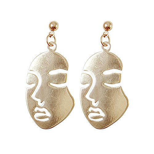 YUELILI Smooth Plane Fun Art Face Design Lady Stud Earrings (Gold Design Earrings)