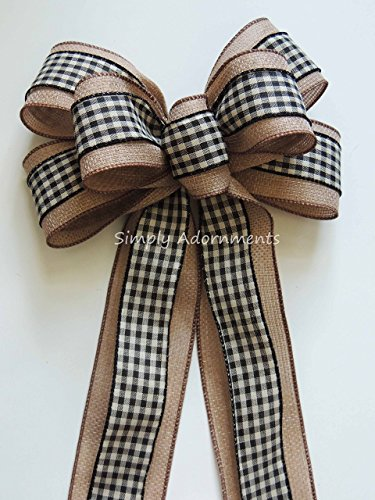 Wreath Bow Woodland Wreath Bow Rustic Burlap Black Check Wedding Pew Bow Black Cream Check Swag Bow Rustic Gift Bow (Traditional Swag)