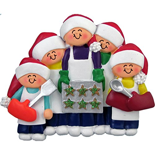Personalized Baking Cookies Family of 5 Christmas Ornament for Tree 2018 - Children Santa Hat Cooking Gingerbread Tray Holiday Guest - Winter Activity Tradition - Free Customization by Elves ()