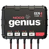 NOCO Genius GEN4 40 Amp 4-Bank Waterproof Smart On-Board Battery Charger & NOCO Genius GCP1 Black 13 Amp 125V AC Port Plug (Bundle)