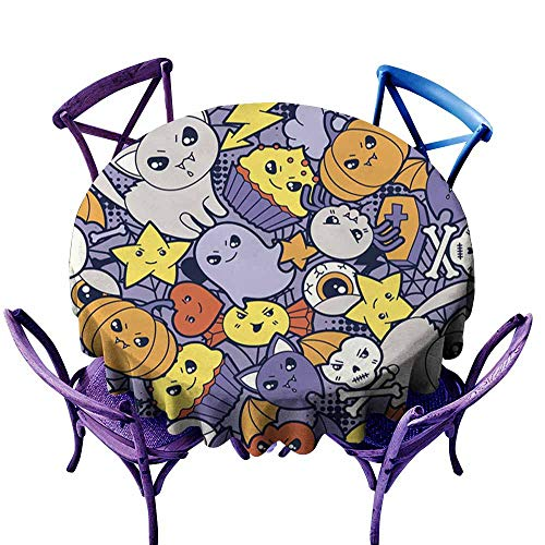 Dabuniu Resistant Table Cover,Seamless Halloween Kawaii Pattern with Cute Doodles,High-end Durable Creative Home,60 INCH]()