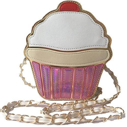 J-BgPink Women's Summer Cute Cartoon Ice Cream PU Cake Shape Mini Crossbody Bag (ice cream) (cake)