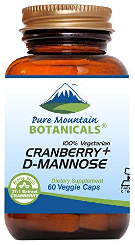 Cranberry D Mannose Capsules - 60 Kosher Vegan Caps - 1000mg D Mannose with Cranberry Concentrate Plus Vitamin ()
