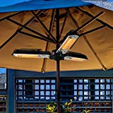 Electric Patio Parasol Umbrella Heater, Folding Outdoor Electric Infrared Space Heater with 3 Heating Panels for Pergola or Gazabo