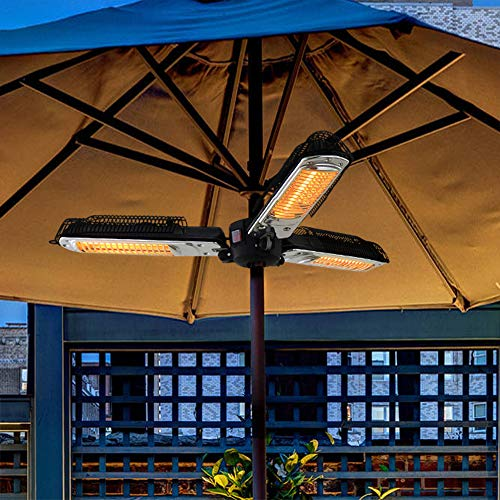 Electric Patio Parasol Umbrella Heater, Folding Outdoor Electric Infrared Space Heater with 3 Heating Panels for Pergola…