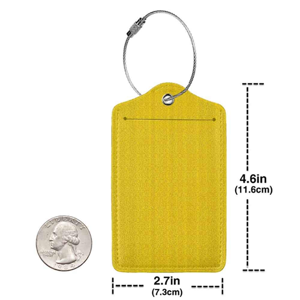 Small luggage tag Yellow Decor Modern Leaf Branch Abstract Ivy Vines Pattern Artwork with Flower Like Art Circles Quickly find the suitcase Yellow W2.7 x L4.6