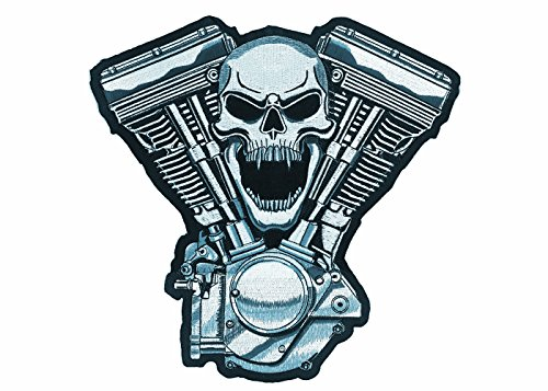"""Lethal Threat (LT30069 Skull Motor Embroidered Patch (11"""" x 11"""")"""