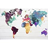 "World map Poster The World in Watercolours (36""x24"")"