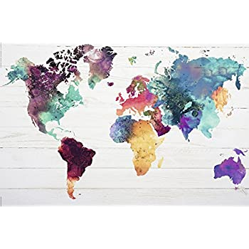 Amazon canvas prints wall art watercolor style world map world map poster the world in watercolours 36x24 gumiabroncs Choice Image