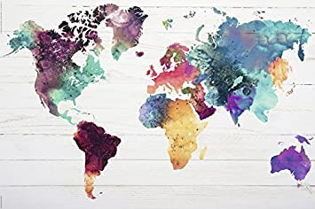 "Amazon World map Poster The World in Watercolours 36""x24"