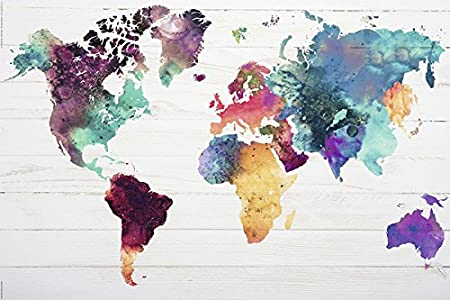 World map poster the world in watercolours 36x24 amazon world map poster the world in watercolours 36quot gumiabroncs Images