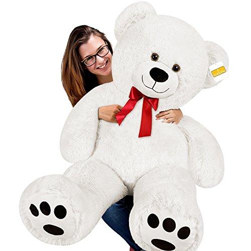 cucunu Giant Teddy Bear White XXL - 55 inches Stuffed Animal - Plush Toy