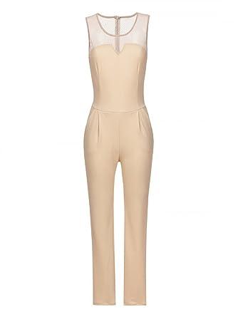 e3e211d25ea164 Laeticia Dreams Damen Overall Catsuit Sommer Jumpsuit Lang Netz Spitze S M  L XL, Farbe:Beige