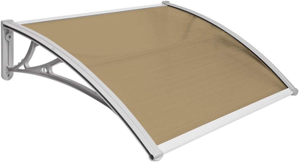 Vordach Haust/ür Terrassent/ür /Überdachung Haust/ürdach Pultvordach Alu Kunststoff Braun 100 x 100 cm V2Aox