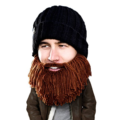 Beard Head Barbarian Vagabond Beanie - Funny Knit Hat and Fake Beard Facemask Brown -