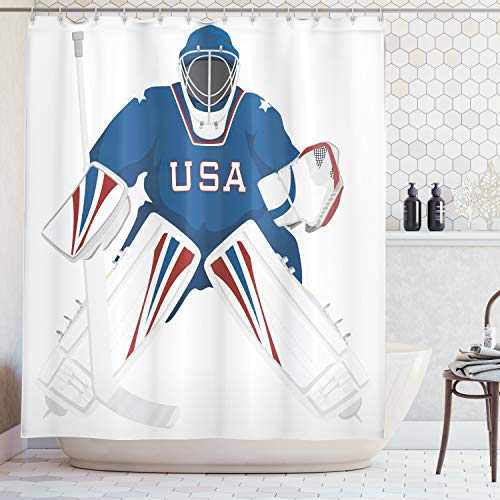 Ambesonne Sports Decor Collection, Team USA Hockey Goalie Protection Jersey Sportswear Illustrations Design Print, Polyester Fabric Bathroom Shower Curtain Set with Hooks, Burgundy Blue ()