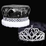 Mirabella Royalty Set, 2 7/8 inch High Mirabella Tiara and Black Crushed Satin Crown with Silver Band, White Fur
