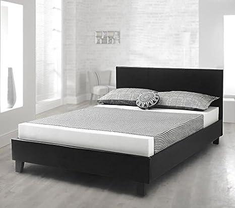 Feliz camas cama Prado de piel sintética contemporáneo de trineo de madera maciza marco colchones, piel sintética, negro, 5FT - Pocket Sprung Mattress: ...