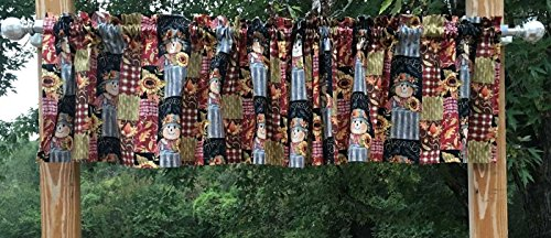 Autumn Harvest Patch Scarecrow Sunflower Leaves Handcrafted Curtain Valance