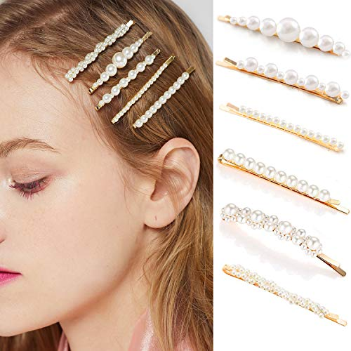 Gold Pearl Bobby Pins for Women Girls Styling Hair Clip Barrettes Decorative Hair Accessories for Bridal Fashion Butterfly Hair Clamps for Kids Ladies Wedding, Party, Prom or Daily Wearing Set 6 Pack