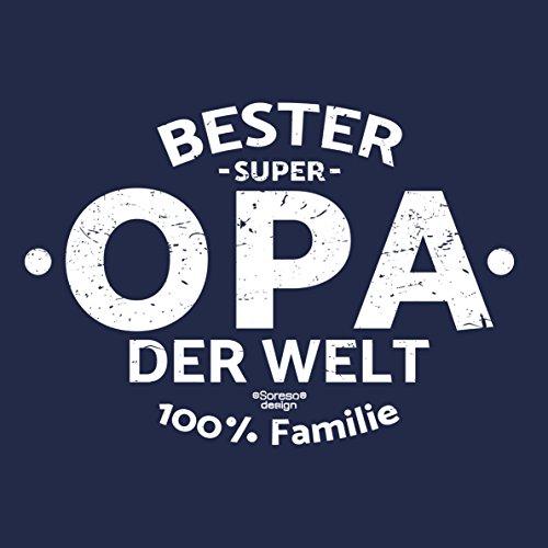 Herren Opa T-Shirt Geschenk Set mit Gratis Urkunde zum Opatag in Größen bis 5XL und Print Aufdruck Bester Opa der Welt Farbe: navy-blau Gr: L