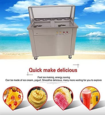 Yoli® double pans with 5 boxes,square fried ice cream machine,thailand ice cream roll making machine,110V/220V
