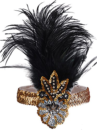 Vijiv Vintage 1920s Flapper Headband 20s Headpiece Flapper Costumes Accessories