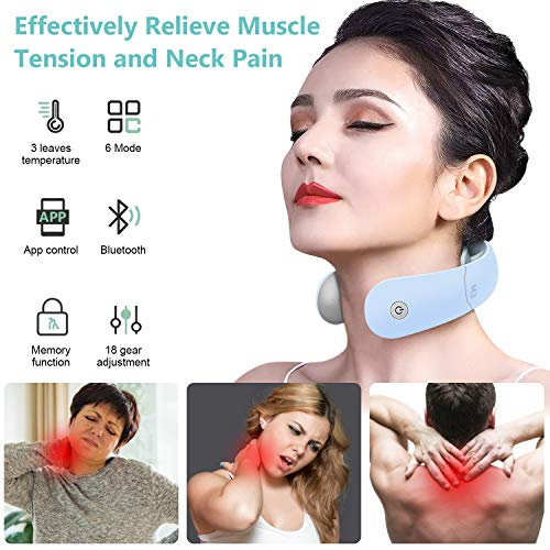 ANLAWIN Electric Neck Massager with Heat APP Control 6 Modes 18 Intensity Levels Smart Neck Massager for Pain Relief Deep Tissue Trigger Point Intelligent Massage for Women Men at Office Home Car