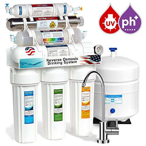 Express Water 11 Stage UV Ultraviolet Alkaline Reverse Osmosis Home Drinking Water Filtration System 100 GPD RO Membrane Filter - Modern Faucet - Pressure Gauge