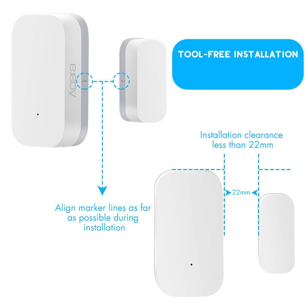 d/étecteur dalarme WiFi Compatible avec Le concentrateur Aqara Hangrui Aqara Capteur Intelligent de Porte et de fen/être capteur de contr/ôle APP de Connexion sans Fil ZigBee
