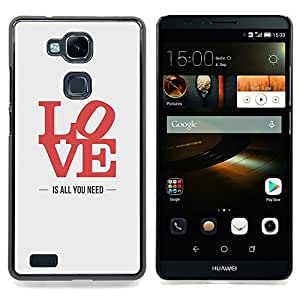 /Skull Market/ - Love Is All You Need Poster Lyrics Red For HUAWEI Ascend Mate 7 - Mano cubierta de la caja pintada de encargo de lujo -