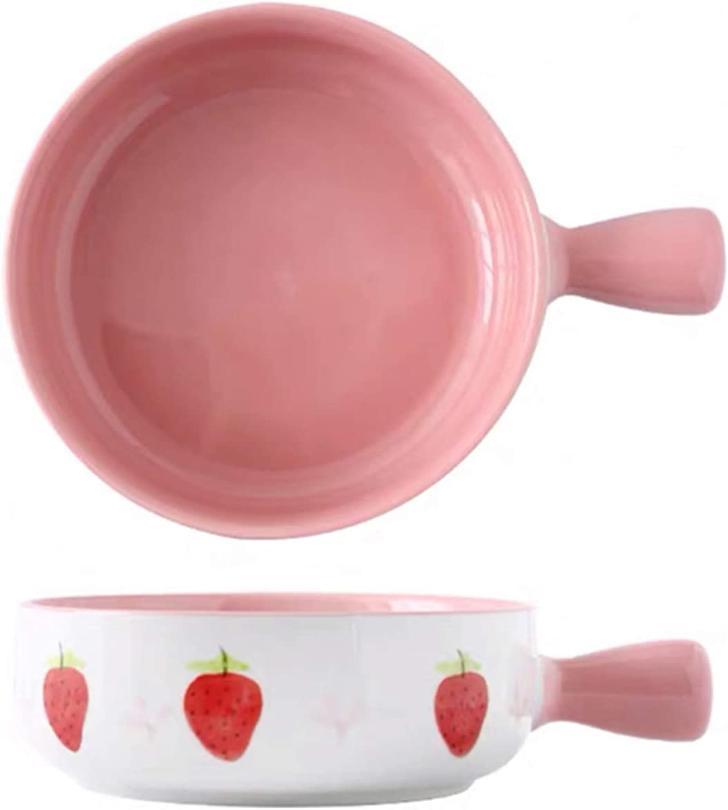 SURVEEL Salad Bowl French Onion Soup Bowl with Handle 20 Ounces (Pink Strawberry)