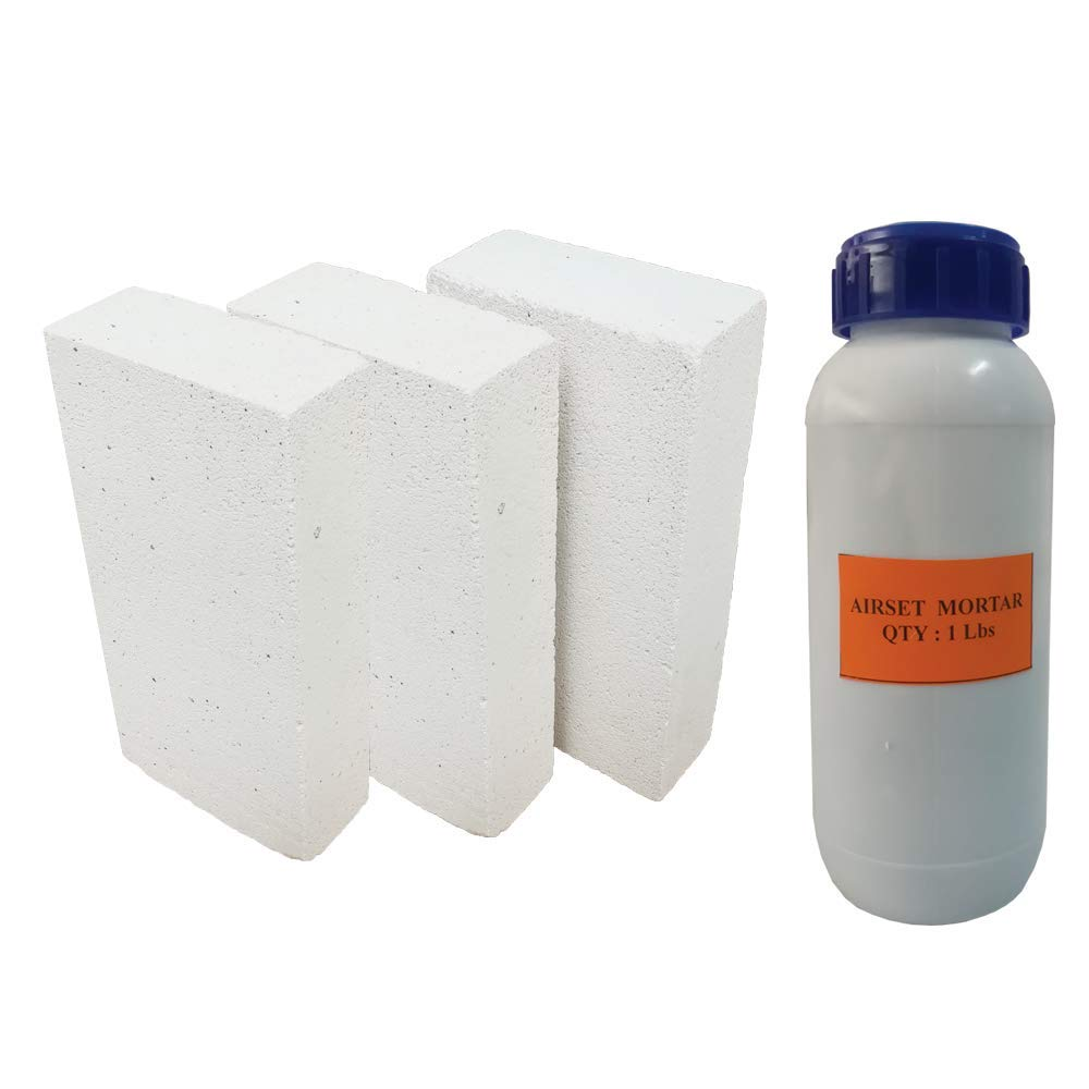 Insulating FireBrick 9x4.5x0.75 IFB 2500F Set of 6 Fire Brick + 1 Lb Wet Mortar