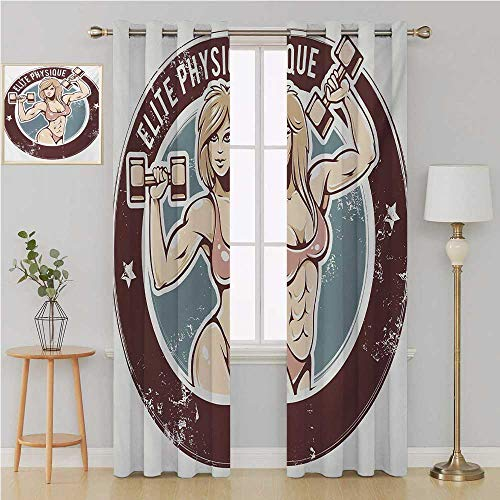 Fitness gromet Curtain Room Divider Curtain Screen Partitions,Retro Style Sexy Lady with Dumbbells Elite Physique Grunge Display curtain living room 120 By 108 Inch Chocolate Pale Pink Blue