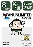 日本国内8日間 無制限 4GLTE 使い放題/365日11ヶ国語カスタマーサポート/ docomo回線 / 4GLTE / vivias simの使い切りプリペイドsimカード/同梱説明書6ヶ国語対応/本人確認なし/Japan Travel SIM (マルチカットSIM「3-IN-1 SIM」 / データ量:無制限/利用可能期間:8日間)