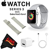 6Ave Apple Watch Series 3 42mm Smartwatch (GPS Only, Silver Aluminum Case, Fog Sport Band) + WATCH BAND SILVER MESH 42MM + MicroFiber Cloth Bundle