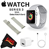 : 6Ave Apple Watch Series 3 42mm Smartwatch (GPS Only, Silver Aluminum Case, Fog Sport Band) + WATCH BAND SILVER MESH 42MM + MicroFiber Cloth Bundle
