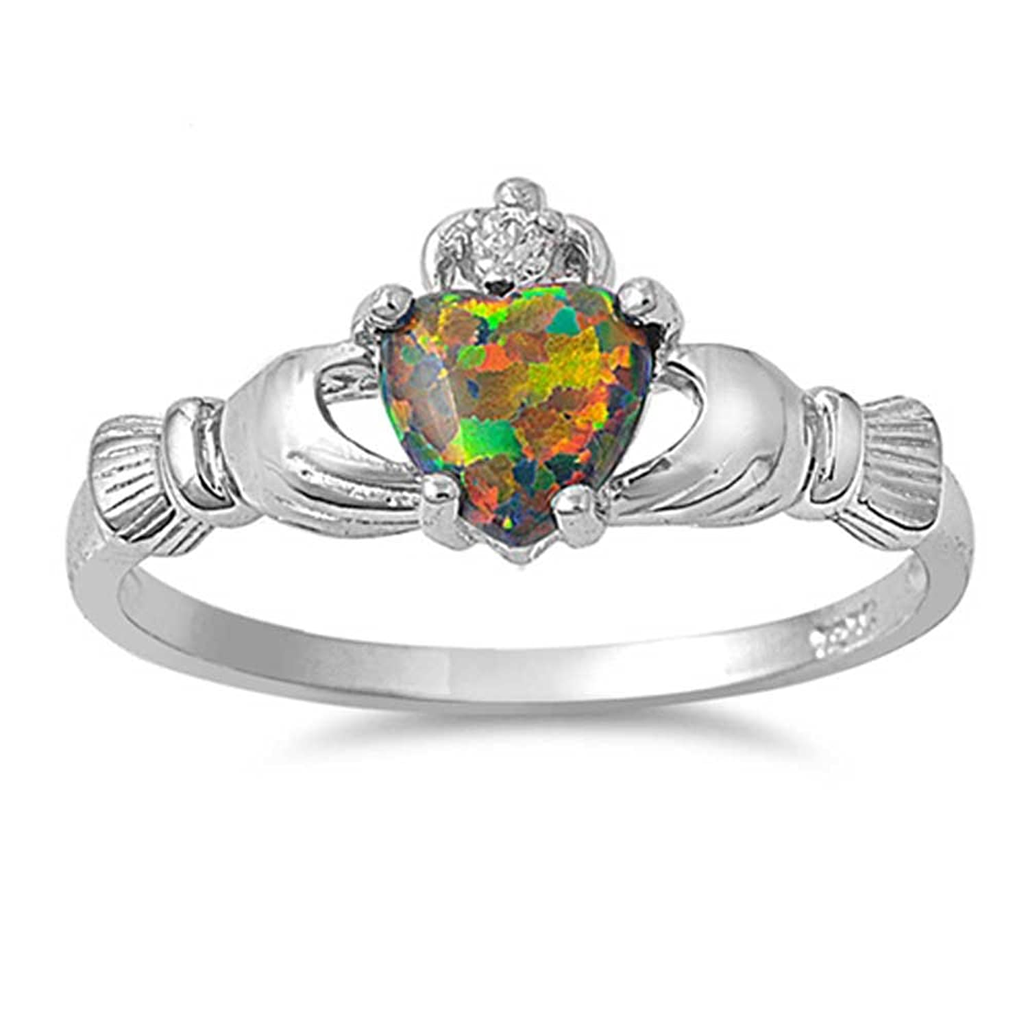Amazoncom 9MM 2ctw Sterling Silver BLACK OPAL LAB CREATED MULTI