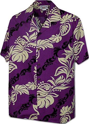 Hawaiian Leis Men's Aloha Shirt 3876Purple (Aloha Leis)