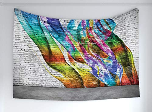 Ambesonne Brick Wall Tapestry, Abstract Graffiti Painted on Wall Harmony of Colors Street Art Fresco Print, Fabric Wall Hanging Decor for Bedroom Living Room Dorm, 60 W X 40 L Inches, Multicolor