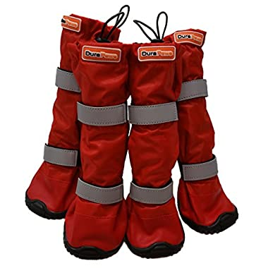 DuraPaws Water-Resistant Dog Boots - Snow Boots - Paw Protector for Snow, Rain & Salt (Set of 4 available in 4 Sizes) (Red, Large - 2.44  Wide x 2.76  Long)